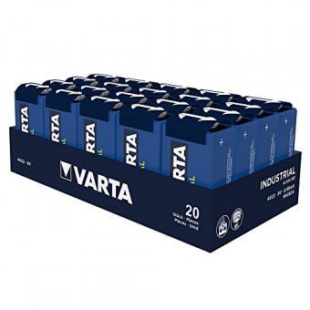 Varta Industrial Batterie 9V Block Alkaline Batterien 6LR61 - 20er pack, Made in Germany