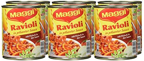 MAGGI Ravioli in pikanter Sauce, Teigtaschen mit Rindfleisch-Füllung, leckeres Fertiggericht für Topf & Mikrowelle, 6er Pack (6 x 800 g)