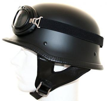 ATO Moto Motorradhelm Stahlhelm Oldtimer Brille Schwarz matt Größe: (L 59/60cm)