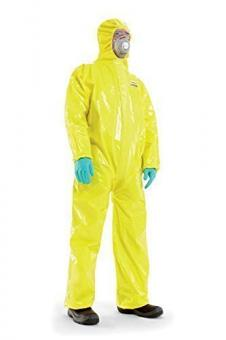 """Flüssigkeitsdichter Infektions Schutzanzug Gr. M Honeywell SPACEL mit integrierten Handschuhen und Füsslingen, Kat III Typ 3, 4, 5 und 6 - mit Kennbuchstabe """"B"""" (Schutz bei biologischen Gefahrensituationen, z.B. Ebola, Vogelgrippe, MERS)"""