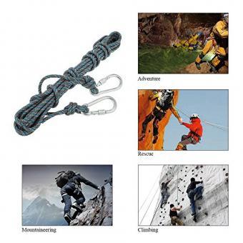 Docooler 8mm * 10m Klettern Seil mit Karabiner/Survival Schnur Zubehör