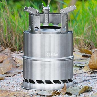 Camping Kocher Canway Campingkocher Holzvergaser Kocher Outdoor Ofen Holzofen Camping aus Edelstahl für Picknick, Wandern, Camping