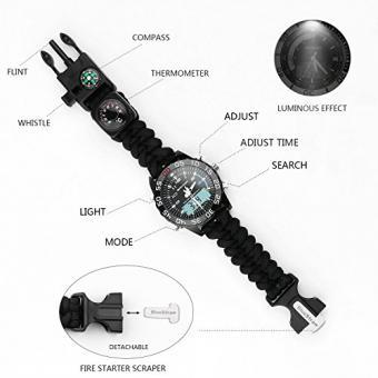 Digital Survival Watch Wasserdicht Emergency Military Digital Dual Dial Sportuhr mit 3 Multifunktions Austauschbare Survival Armband Armband
