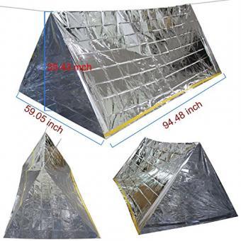 Wady 3-in-1 Notfall-Decke, -Zelt und -Schlafsack, Hitze-reflektierend, wasserdicht, Mylar, Thermo-Schutz, Überlebensausrüstung zum Camping/Wandern